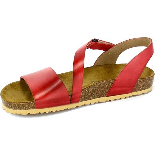 Sandały damskie Ryłko skórzane płaskie na lato bez obcasa bez wzorów
