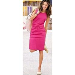 cfaaa93384 Sukienka Pakuten sportowa różowa na spacer z elastanu gładka midi z  okrągłym dekoltem