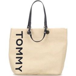 ab71d160fecfb Shopper bag beżowa Tommy Hilfiger skórzana młodzieżowa