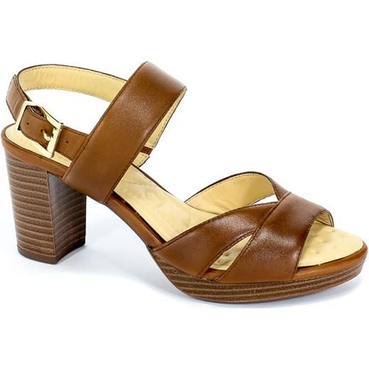 dd73e84c Caprice sandały damskie skórzane na obcasie eleganckie bez wzorów z klamrą  ...
