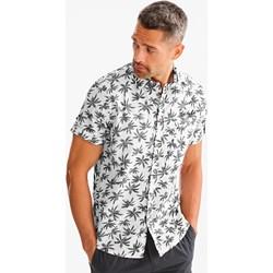 95139d7af Koszula męska Angelo Litrico w abstrakcyjnym wzorze bawełniana biała