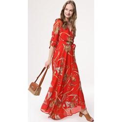 4cd1743ad0866 Czerwona sukienka Born2be wiosenna maxi na spacer