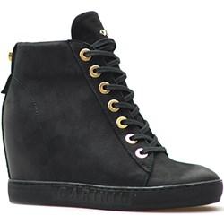 4e6589d4 Sneakersy damskie Carinii z nubuku młodzieżowe na koturnie sznurowane  gładkie