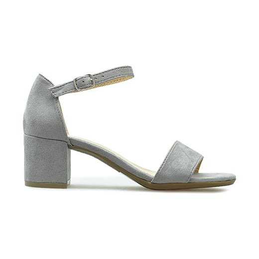 Szare sandały damskie Filippo z klamrą eleganckie gładkie