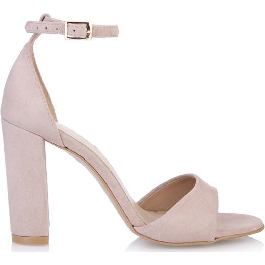 Sandały damskie Arturo Vicci gładkie na słupku na wysokim obcasie zamszowe Buty Damskie OG różowy Sandały damskie BADN