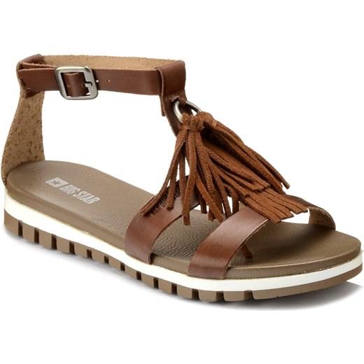 Sandały damskie brązowe Big Star skórzane płaskie bez wzorów bez obcasa z klamrą Buty Damskie JW brązowy Sandały damskie PFVX