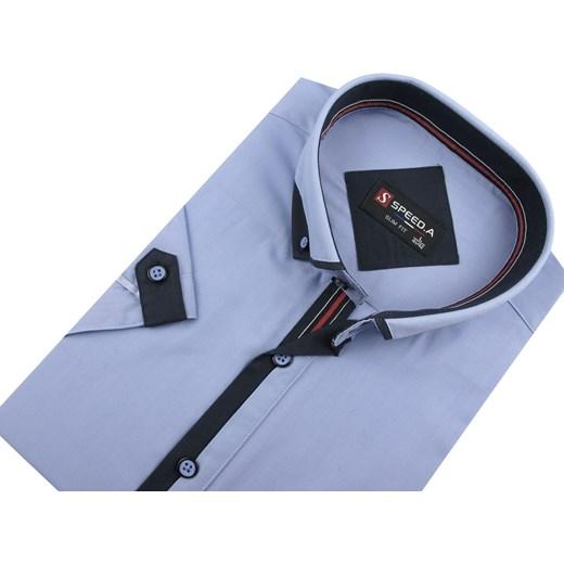 349b897afe3d97 A gładka z krótkim rękawem Koszula męska Speed.A z krótkim rękawem niebieska  casualowa z klasycznym kołnierzykiem z tkaniny ...