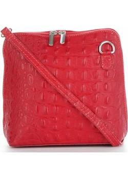 Torebki Skórzane Listonoszki wzór krokodyla Genuine Leather Made in Italy Czerwone (kolory) Genuine Leather  torbs.pl - kod rabatowy