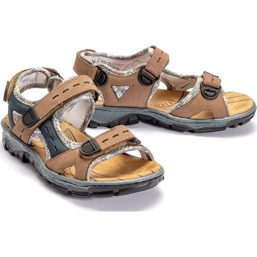 Sandały damskie brązowe Rieker bez wzorów płaskie