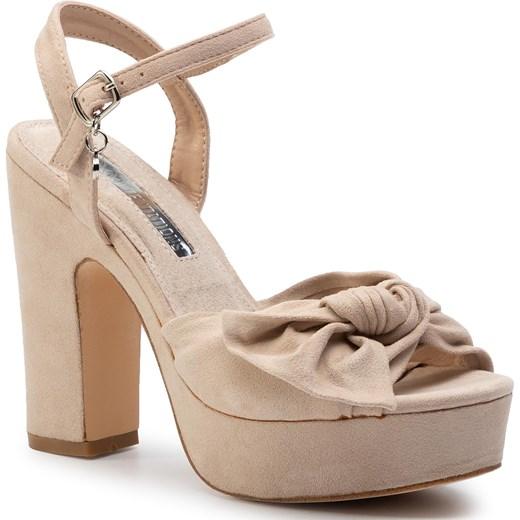 Brązowe sandały damskie Xti na wysokim obcasie na Buty Damskie AH brązowy Sandały damskie WZDJ