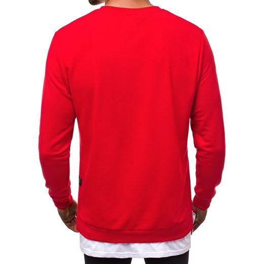 70% ZNIŻKI Bluza męska czerwona Ozonee gładka Odzież Męska