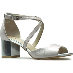ad904229ce95bb Karino sandały damskie na lato na obcasie szare na średnim