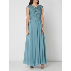8416d975a Sukienka turkusowa Luxuar z haftami maxi elegancka rozkloszowana  karnawałowa na bal