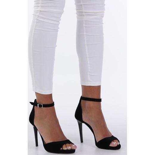 d2b00ce31f795a Czarne sandały szpilki z zakrytą piętą i paskiem wokół kostki Casu 1590/1  Casu 40