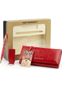 Zestaw prezentowy upominkowy damski dla niej portfel + brelok + długopis Peterson   - kod rabatowy