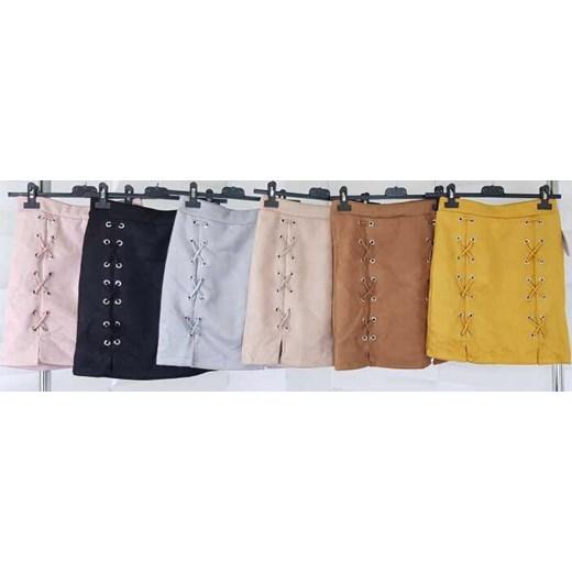 Spódnica gładka mini Odzież Damska XF żółty Spódnice JFXC tani