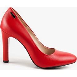4f80d621f01d27 Czółenka Oleksy gładkie czerwone eleganckie bez zapięcia