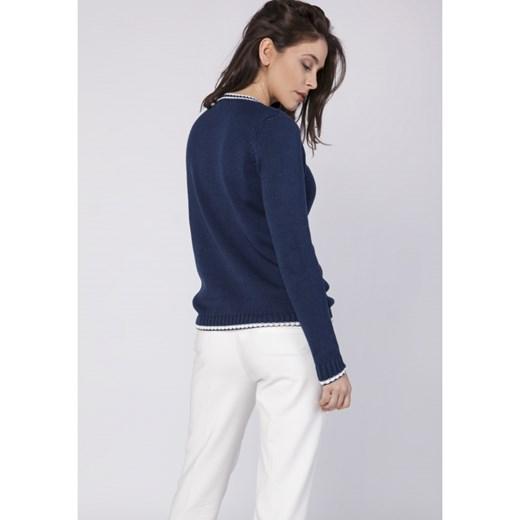 Stała usługa Sweter damski granatowy Mkm Knitwear Design