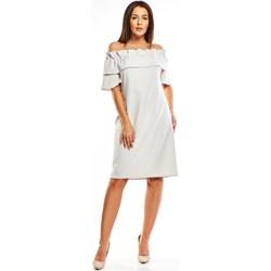 c9a84499 Sukienka Lala...by z dekoltem typu hiszpanka midi gładka z odkrytymi  ramionami z krótkim rękawem