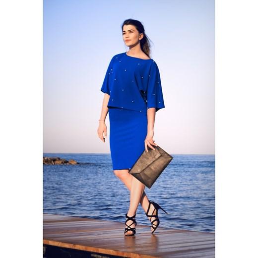 NIEBIESKA SPÓDNICA OŁÓWKOWA DO KOLAN Bien Fashion Odzież Damska CY niebieski Spódnice AYTO Stała usługa