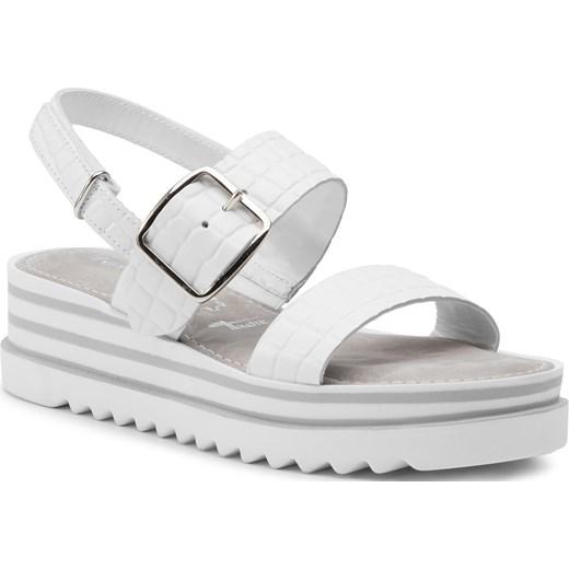 Sandały damskie białe Tamaris bez wzorów z tworzywa sztucznego na lato