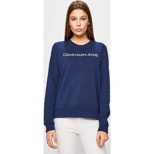 29bc1e368c1 Granatowa bluza damska Calvin Klein bez wzorów z poliestru