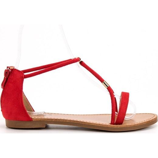 7dd120be Czerwone Sandały Domodi Klamrą Cm Płaskie W Z Damskie Buty Paris CQhrtsd