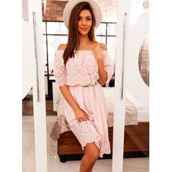 65337c684be21 Sukienka różowa Selfieroom z krótkimi rękawami bawełniana