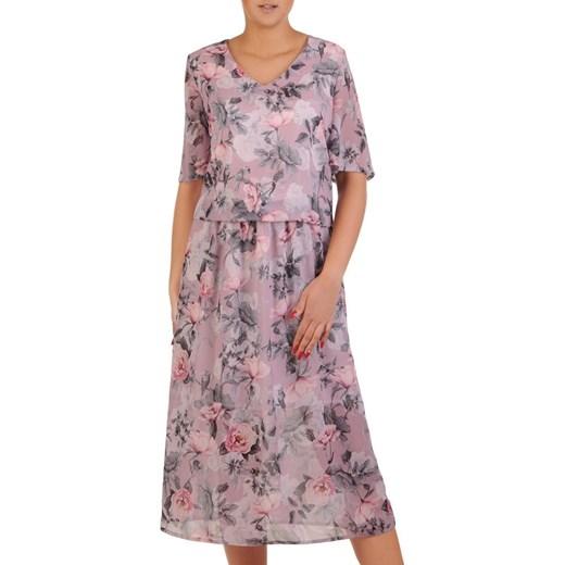 bce82825 Sukienka z krótkim rękawem w kwiaty oversize szyfonowa na spacer