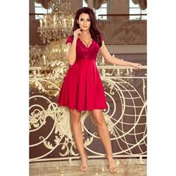 71203e71 Sukienka czerwona Numoco elegancka z dekoltem w serek na wesele