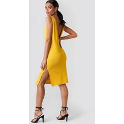 a937670c89d50d Sukienka Hoss X Na-kd oversize żółta midi luźna z dekoltem na plecach bez  rękawów