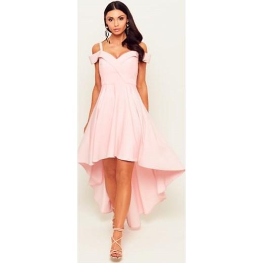 e9399904bdd9d3 Strona główna · Odzież · Odzież damska · Sukienki. Sukienka Victoria pudrowy  róż - z długim trenem i spadającymi ramionami Nifiko 36 MyLittleHeaven