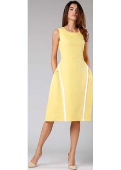 Żółta Sukienka z Rozkloszowanym Dołem Nommo  Coco-fashion.pl  - kod rabatowy
