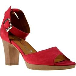 951f09ed Sandały damskie Oleksy na średnim obcasie eleganckie bez wzorów czerwone na  z klamrą