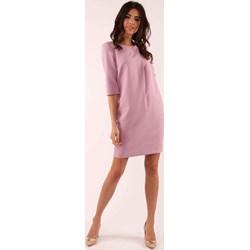 00f5510902c5ac Różowa sukienka Nommo z długimi rękawami z okrągłym dekoltem casual na co  dzień