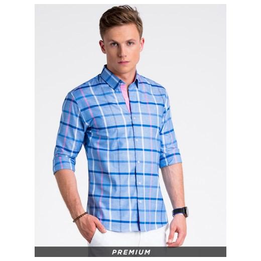 9ff66d85252a7b Koszula męska elegancka z długim rękawem K493 - niebieska Ombre XL