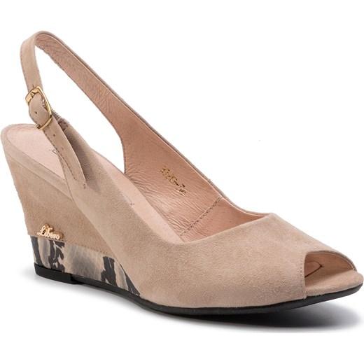 Sandały damskie Libero z klamrą bez wzorów Buty Damskie ET różowy Sandały damskie EMWJ