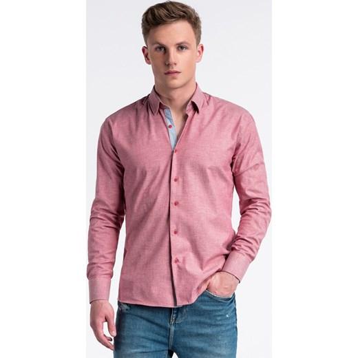 7a4119a6 Koszula męska gładka casualowa różowa z długim rękawem