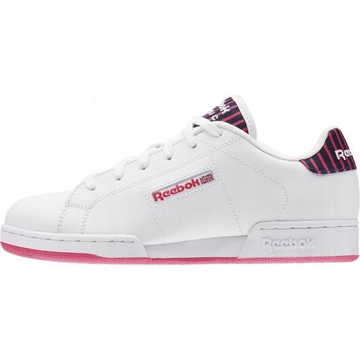 Białe buty sportowe damskie Reebok dla biegaczy na płaskiej
