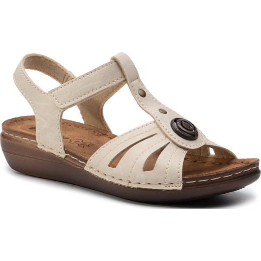 Sandały damskie Inblu ze skóry ekologicznej Buty Damskie RX beżowy Sandały damskie WBCU