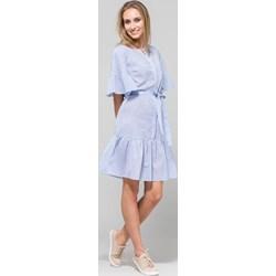 fa36b65f9f6237 Sukienka niebieska Monnari z baskinką mini z długim rękawem