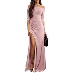7e917b5faa3169 Sukienka Missmoda bez wzorów z odkrytymi ramionami maxi