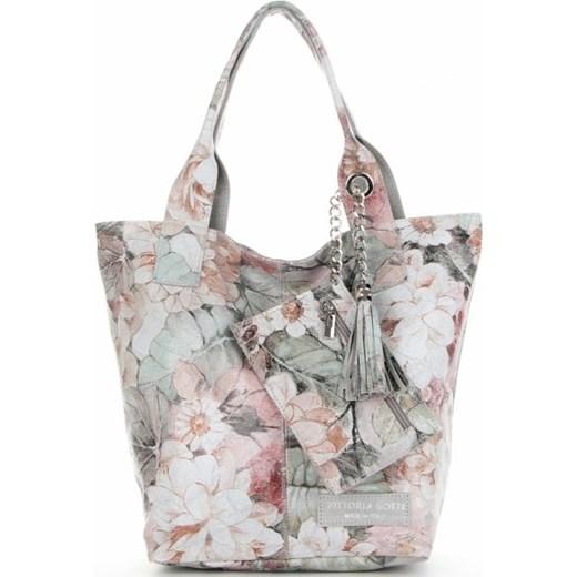 06b71923e99386 Wielokolorowa shopper bag Vittoria Gotti z frędzlami w Domodi