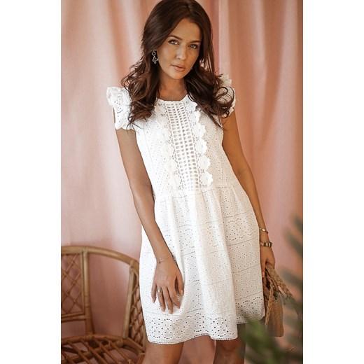 7d5dc97e Sukienka biała Rose Boutique na co dzień z okrągłym dekoltem