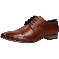 55235bdadc2840 Brązowe buty eleganckie męskie Bugatti sznurowane jesienne ze skóry