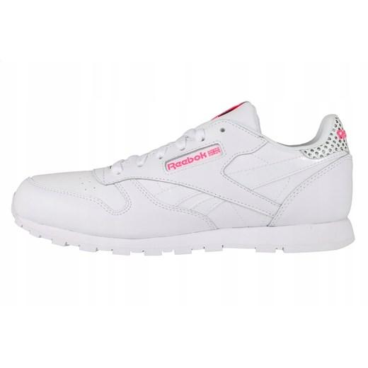 Buty sportowe damskie Reebok białe skórzane wiązane płaskie gładkie
