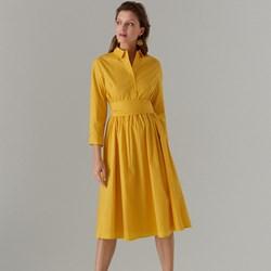 1df1ef4199bbc3 Sukienka żółta Mohito casual koszulowa biznesowa z długimi rękawami
