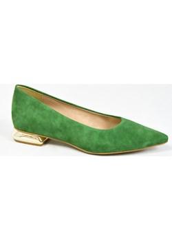 MargoShoes zielone mokasyny balerinki meliski mokasynki ze skóry w szpic ozdobny niski złoty obcas  Margoshoes  - kod rabatowy