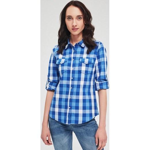 Koszula damska Diverse z kołnierzykiem w kratkę