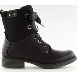 601c9c7b Workery damskie casual wiązane czarne gładkie z zamszu